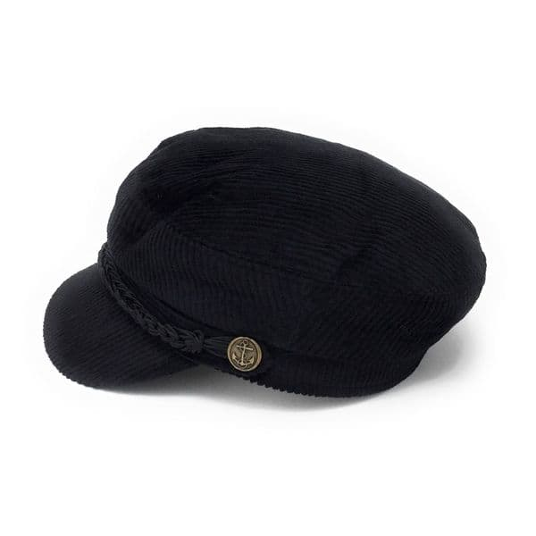 Breton Cord Barge Fisherman Cap - Black
